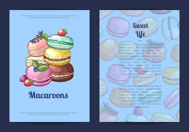 Cartão, modelo de panfleto para loja de doces ou pastelaria com mão colorido desenhado ilustração de macaroons doces