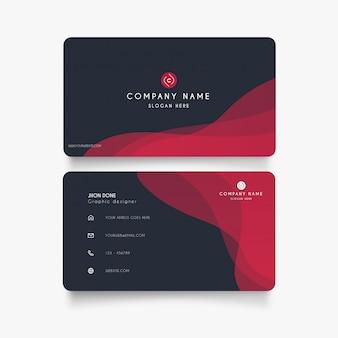 Cartão moderno com ondas vermelhas
