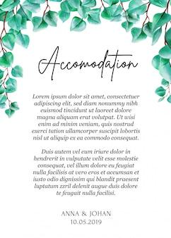 Cartão moderno da acomodação da folha do eucalipto das hortaliças.