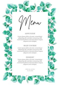 Cartão moderno do menu da folha do eucalipto das hortaliças.