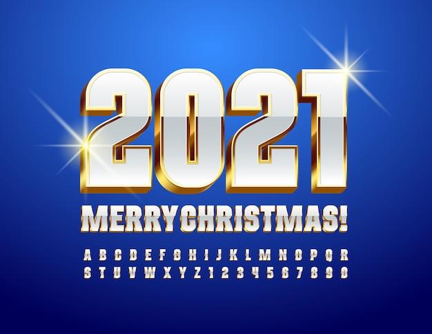Cartão moderno do vetor feliz natal 2021! branca de neve e fonte de ouro. conjunto de letras e números do alfabeto de elite
