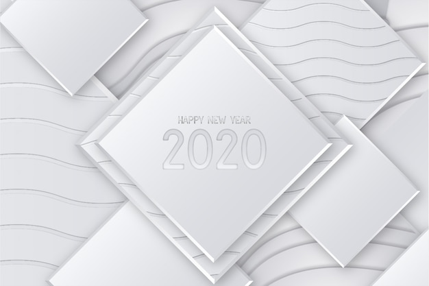 Cartão moderno feliz ano novo com fundo 3d