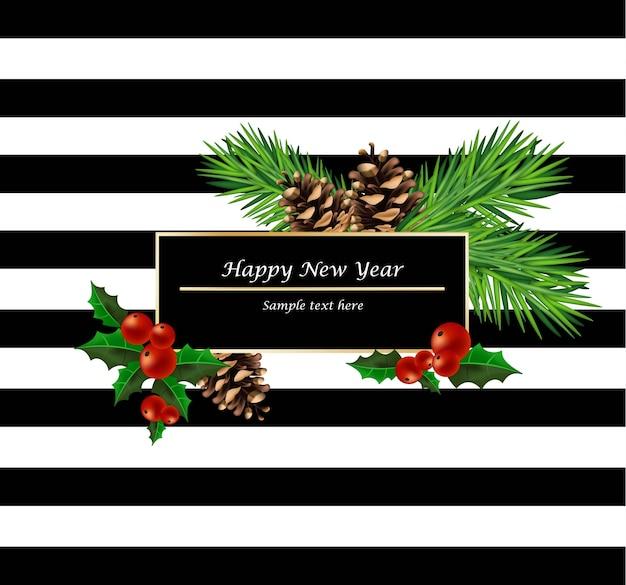 Cartão moderno feliz ano novo preto e branco. com decorações de galhos de abeto