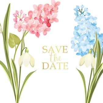 Cartão moldura de casamento com floração lilás.