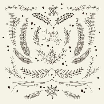 Cartão monocromático de natal com ramos Vetor grátis