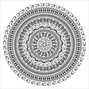 Cartão monocromático de ornamento com mandala. forma redonda ornamental do vetor isolada no branco. ilustração vetorial nas cores preto e branco.