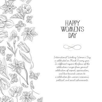 Cartão monocromático feliz dia da mulher com muitas flores à direita do texto com ilustração vetorial de saudações