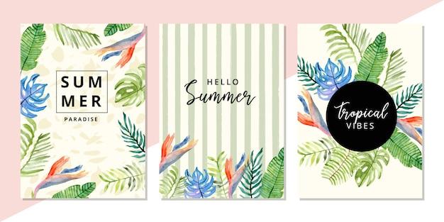 Cartão multiuso com tropical verão floral