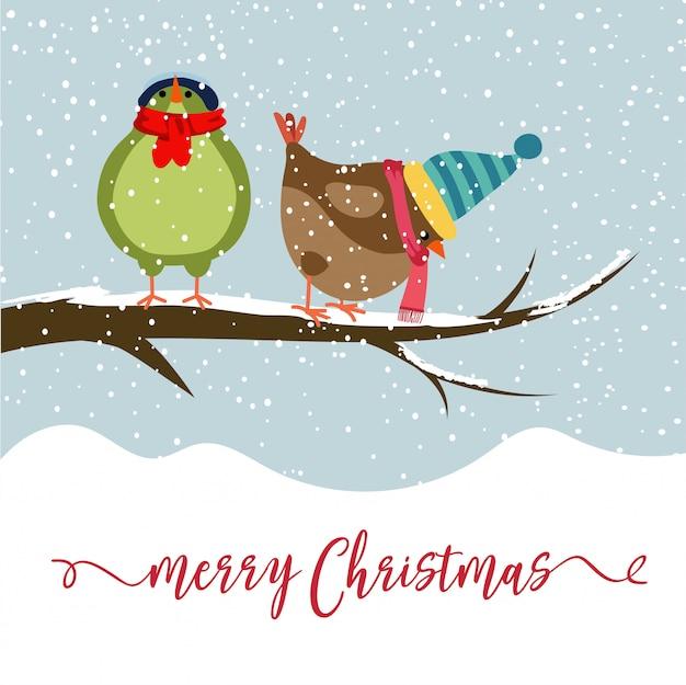 Cartão natal, com, dois pássaros