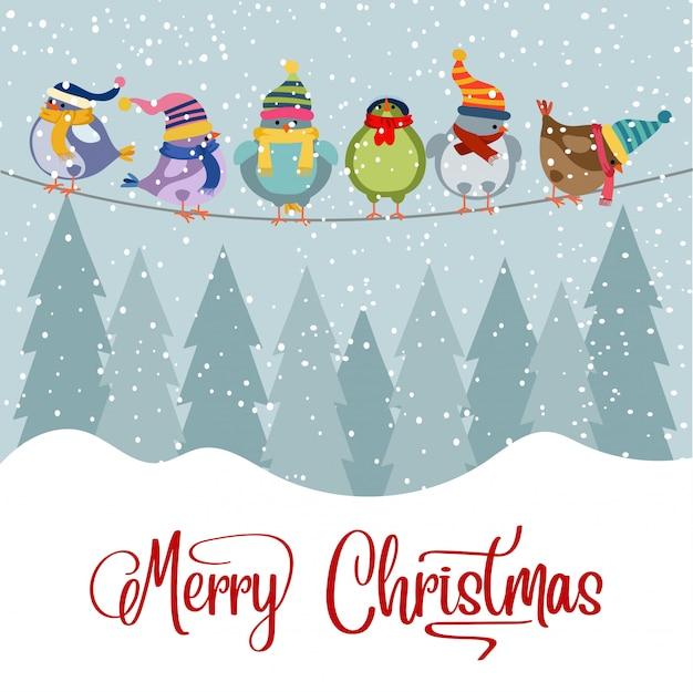 Cartão natal, com, pássaros