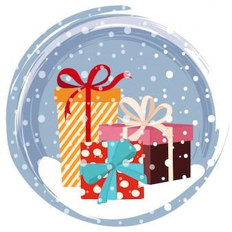 Cartão natal, com, presentes