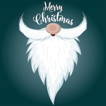 Cartão natal, com, santa, barba