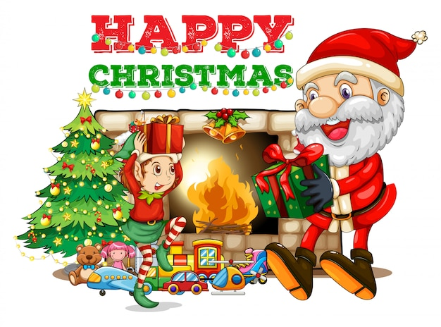 Cartão natal, com, santa