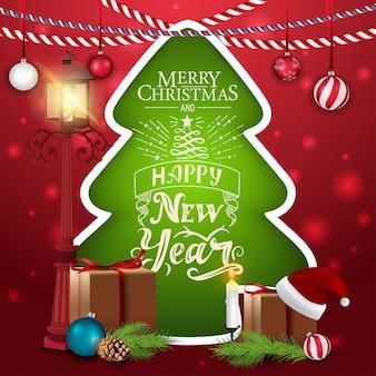 Cartão natal, em, a, forma, de, um, árvore natal, com, antigas, abajur rua, e, presentes