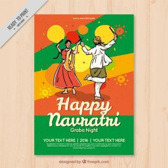 Cartão navratri feliz com dança tradicional