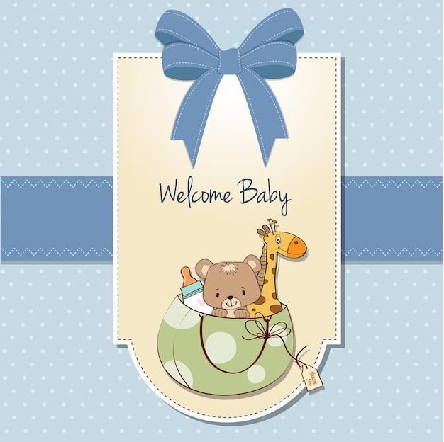 Cartão novo do anúncio do bebê com saco e os mesmos brinquedos