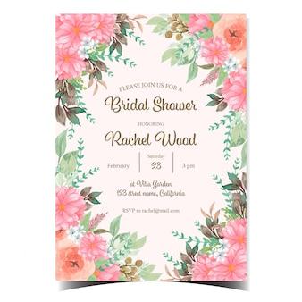 Cartão nupcial cor-de-rosa lindo do convite do chuveiro