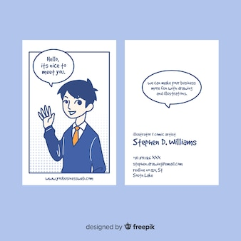 Cartão original busniess com mão desenhada personagem