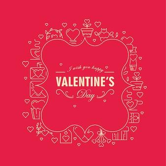 Cartão original com moldura de cor vermelha e branca com muitos corações pequenos, envelopes e outros símbolos