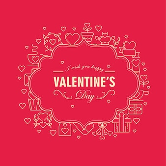 Cartão original com moldura estampada em duas cores com muitos objetos de símbolo ao redor do texto sobre o dia dos namorados na ilustração vetorial vermelha
