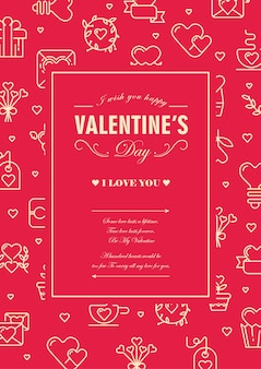 Cartão original com moldura quadrada de cor vermelha e branca com muitos corações pequenos, envelopes e outros símbolos ao redor da ilustração do texto