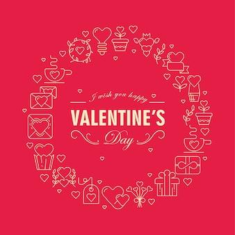 Cartão original com moldura redonda de cor vermelha e branca com muitos pequenos corações, envelopes e outros símbolos.