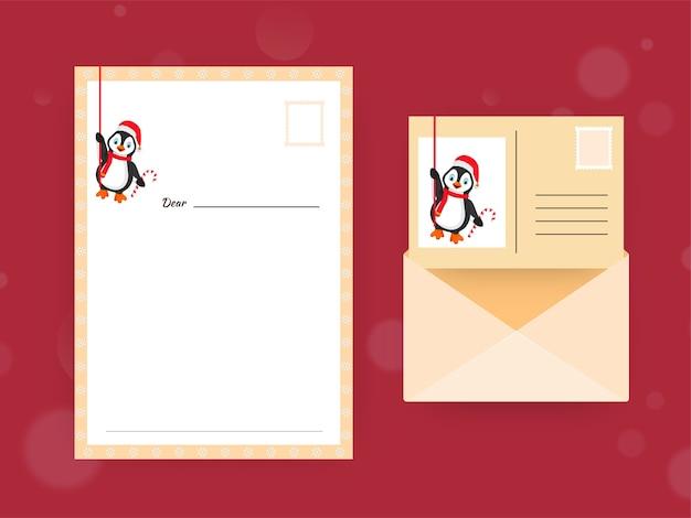 Cartão ou carta vazia com envelope frente e verso para o querido papai noel