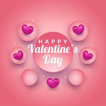 Cartão ou convite do dia dos namorados com corações 3d