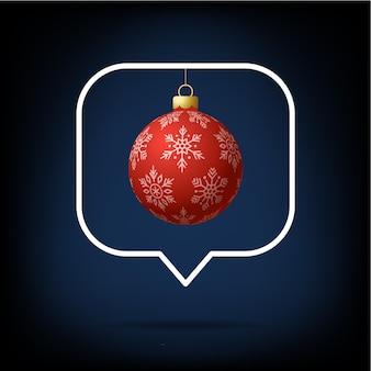 Cartão ou panfleto bola realista de natal em como contador, seguidor de comentário e ilustração em vetor símbolo de notificação. notificação de feliz natal e feliz ano novo