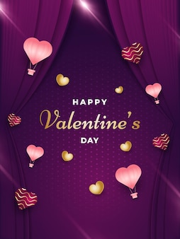 Cartão ou pôster do dia dos namorados com corações espalhados, sinalizadores brilhantes e cortinas em estilo de corte de papel em fundo roxo