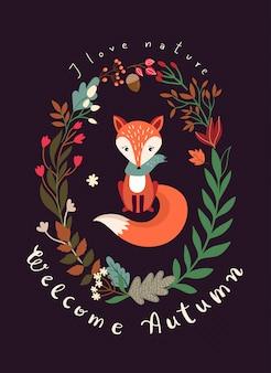 Cartão outonal com coroa sazonal, raposa e letras de mão