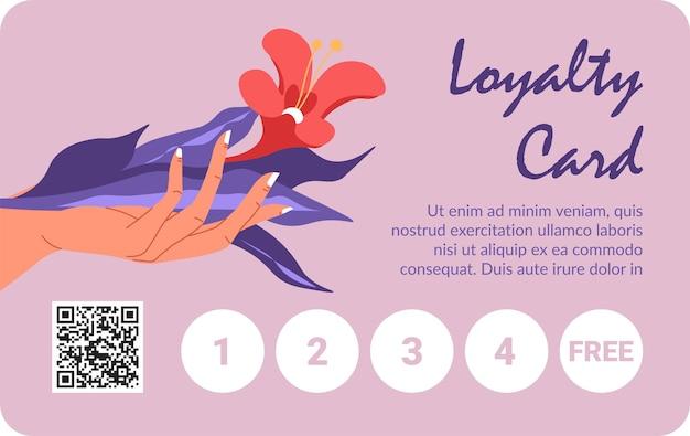 Cartão para cliente fiel de loja ou loja. mão feminina segurando flores, inscrições caligráficas e código de barras com números de compras ou visitas. publicidade e marketing. vetor em estilo simples