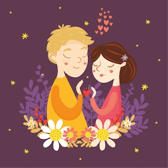Cartão para dia dos namorados. casal apaixonado. menino e menina, coração, amor