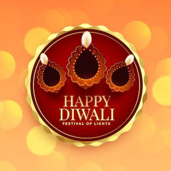 Cartão para feliz festival de diwali com diya