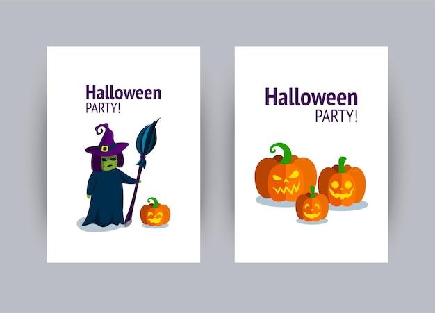 Cartão para festa de halloween bruxa de halloween com vassoura e abóboras