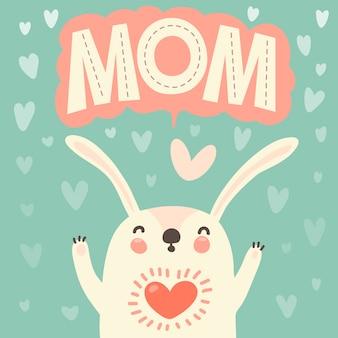 Cartão para mãe com coelho fofo.