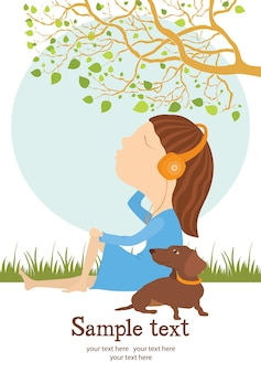 Cartão para menina e cachorro