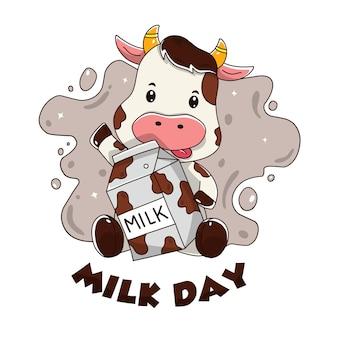 Cartão para o dia do leite com uma vaca fofa segurando uma garrafa de leite