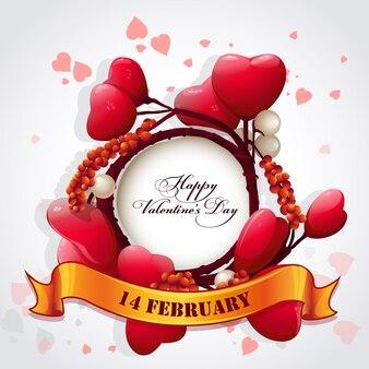 Cartão para o dia dos namorados com corações e uma fita festiva