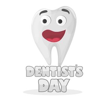 Cartão para o dia internacional do dentista. dente feliz sorrindo saúde humana