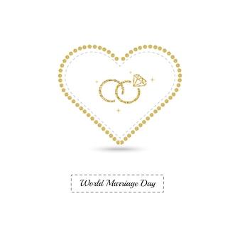 Cartão para o dia mundial do casamento com moldura de coração com purpurina dourada e anel de casamento