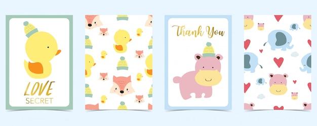 Cartão pastel com duto, raposa, coração