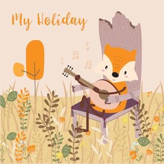 Cartão pastel com fox