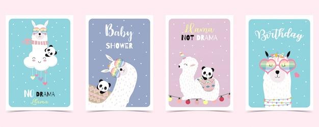 Cartão pastel com lhama, panda