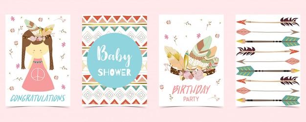 Cartão pastel com menina