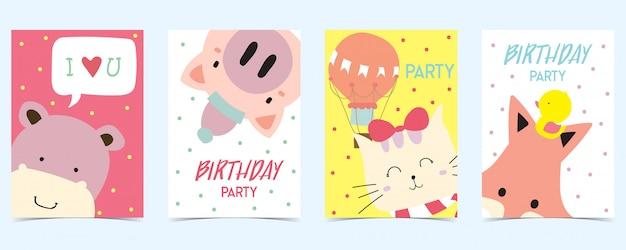 Cartão pastel com porco, gato, raposa, hipopótamo