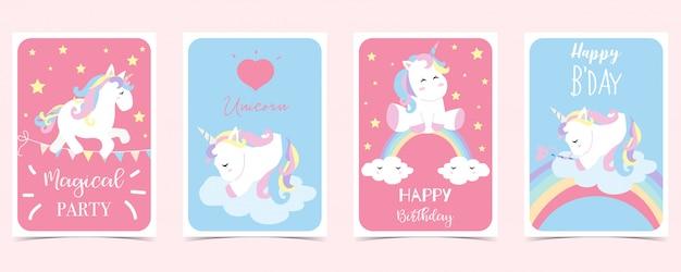 Cartão pastel com unicórnio