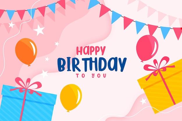 Cartão plano de feliz aniversário com balões e caixas de presente