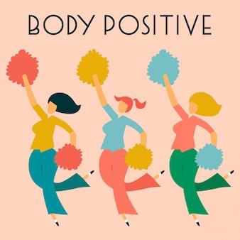 Cartão positivo do corpo com senhoras.
