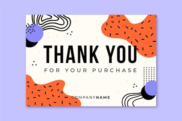Cartão postal abstrato de memphis de agradecimento geral